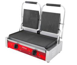 Commercial Double Panini Sandwich Press Grill w/ Grooved Pla