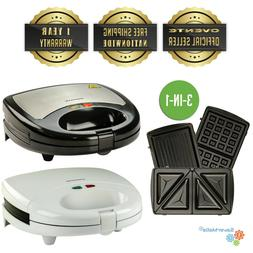 OVENTE GPI 3-in-1Electric Sandwich Maker w/ 3 Switchable Non