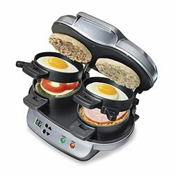 Hamilton Beach Dual Breakfast Sandwich Maker with Timer, Sil