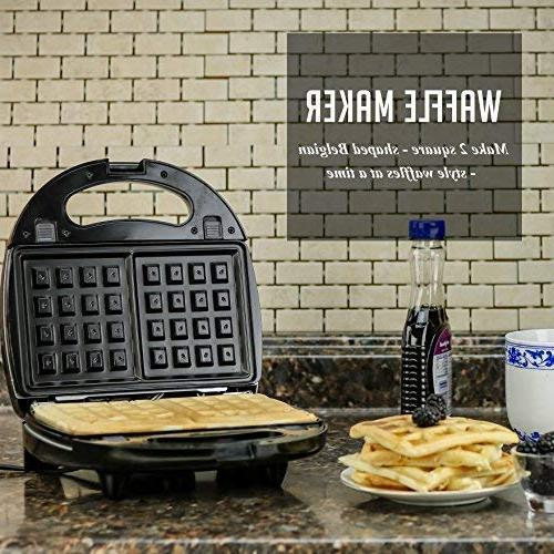 OVENTE 3-in-1 Sandwich Maker with Detachable Non-Stick Waffle Plates, 750-Watts, LED Lights, Cool Anti-Skid