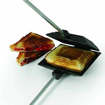 "27"" Cast Iron Square Pudgy Pie Maker Campfire Pudgie Sandwic"