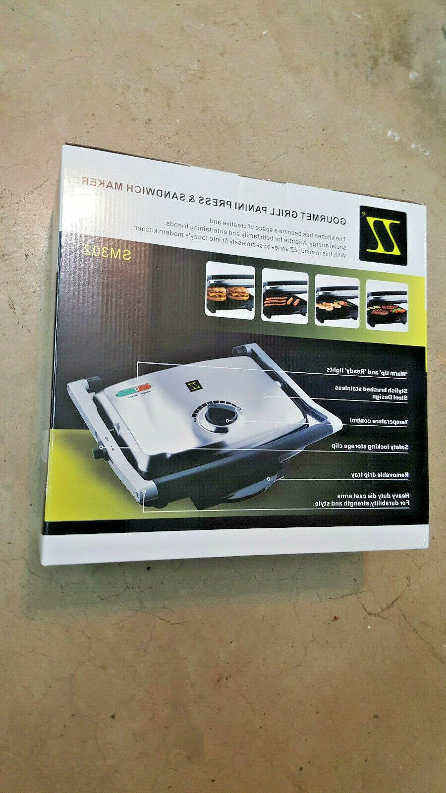Electric Panini Gourmet Cook Grill 1500w ! Sandwich Maker