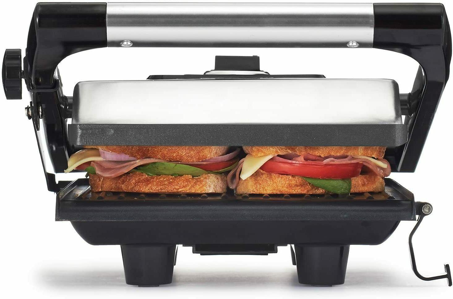 Electric Maker 2 Nonstick Plates Stainless Panini