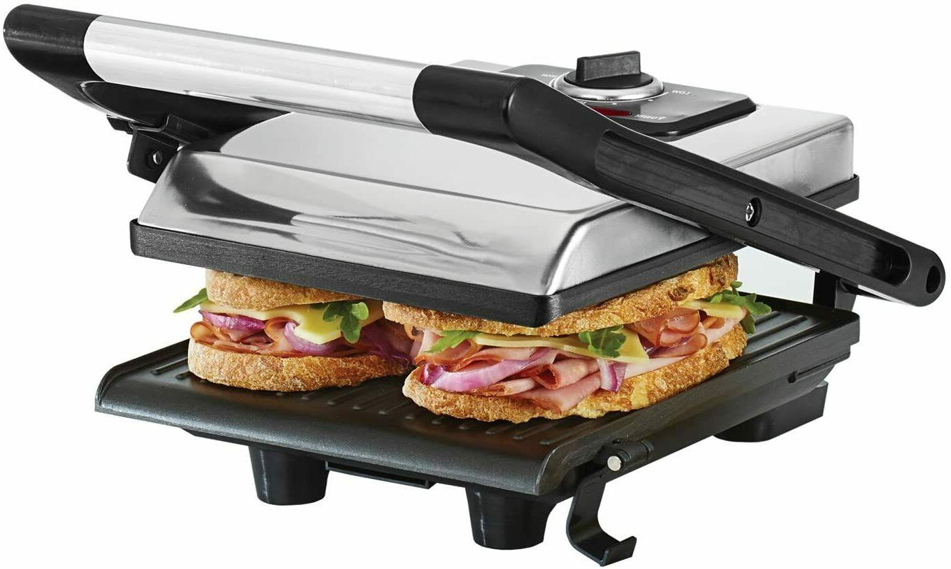electric sandwich maker 2 nonstick plates stainless