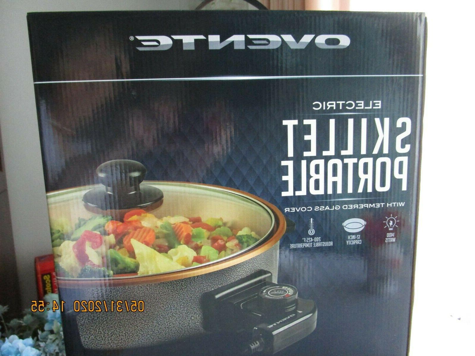 electric skillet portable with tempered glass cover