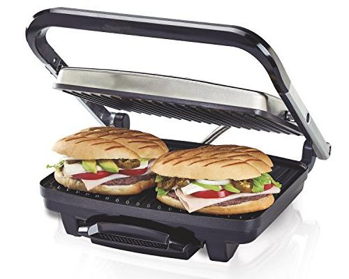 """Hamilton Beach Panini Sandwich Grill, Electric, 95"""" Cooking Surface, Stainless Steel"""