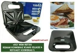 OSTER NEW 120V 4 SEALED SNACK-SLICE SANDWICH MAKER 2 SANDWIC