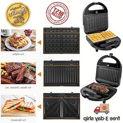 OSTBA Sandwich Maker 3-in-1 Waffle Iron 750W Panini Press Gr