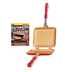 Stovetop Panini & Sandwich Maker! Red Copper Flipwich As See